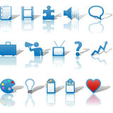 Media Business Icons Reflections Set 3 Royalty Free Stock Images