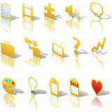 Media Business Icons Reflections Shadows Set Royalty Free Stock Images