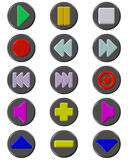 Media button set. Colored buttons set 3d theme media Royalty Free Stock Images