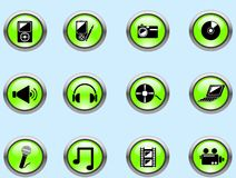 Media buttons. Set of green media buttons for internet Royalty Free Stock Image