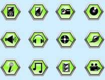 Media buttons. Set of green media buttons for internet Stock Illustration