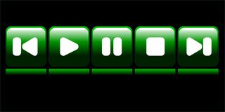 Media buttons. Green media buttons on black Royalty Free Stock Images