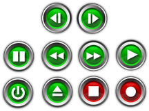 Media buttons. Various different media buttons both green and red Vector Illustration
