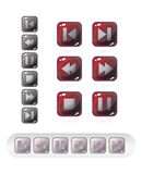 Media buttons. Set of media buttons on white background Stock Illustration