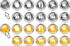 Media buttons. Stock Photo