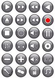 Media Buttons. Illustration of a set of glossy silver media buttons Stock Illustration