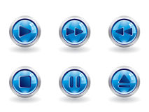 Media buttons. Glossy set of media buttons Stock Illustration