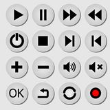Media buttons. 3d buttons of monochrome colors Royalty Free Stock Photo