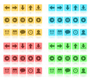 Media buttons flat set. This is file of EPS10 format Royalty Free Illustration