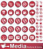 Media Buttons and icons. Set of round vector buttons with red color  web icons Royalty Free Stock Photo