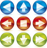 Media buttons (vector). Vector illustration of media buttons in blue, red and green Royalty Free Illustration