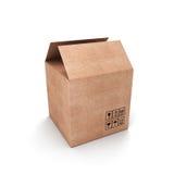 Media caja de cartón abierta Imagen de archivo libre de regalías