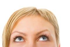 Media cara de la mujer con los ojos Imagenes de archivo