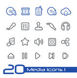 Media Center Icons // Line Series Stock Image