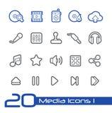 Media Center Icons // Line Series Stock Image