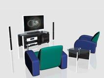 Media center, plasma screen in living room Stock Photos