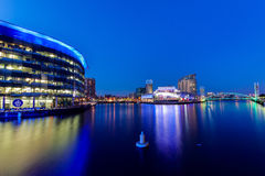 Media centre Manchester Salford quays. Night photograph salford quays media center manchester bbc itv studios blue peter Stock Image