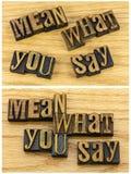 Media che cosa dite lo scritto tipografico del messaggio Fotografia Stock Libera da Diritti