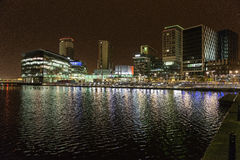 Media City at night. Media City, Salford Quays, Manchester. At night Royalty Free Stock Photography