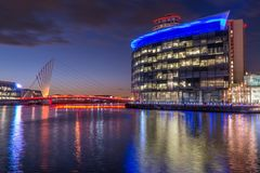 Media City, Salford, Manchester At Night stock photo
