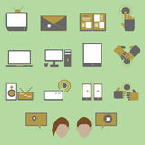 Media and communication color icons on green backg Stock Images