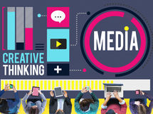 Media Communication Connect Creative Thinking Concept stock illustration