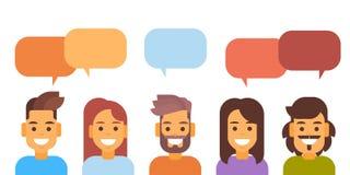 Media Communication för tillfällig bubbla för folkgrupppratstund socialt nätverk Arkivfoton