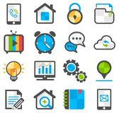 Media and communication flat icon set Stock Photos