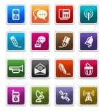 Media & Communication Icons 2 - sticker series. Media & Communication Sticker Icons isolated over white background - sticker series stock illustration