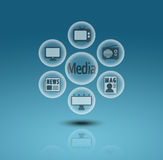 Media communication icons. In crystal ball Stock Image