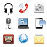Media and communication icons vector set Royalty Free Stock Photography
