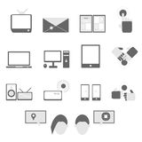 Media and communication icons on white background Royalty Free Stock Photos