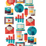 Media and communication seamless pattern with blog Stock Image