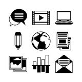 Media and communication set of blog icons Stock Photography
