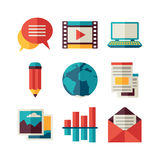 Media and communication set of blog icons Royalty Free Stock Image