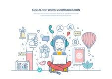 Media Communication social Travaillez avec le media et la planification, vente numérique illustration libre de droits