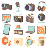 Media communications icons set, cartoon style. Media communications icons set. Cartoon illustration of 16 media communications vector icons for web Royalty Free Stock Photography