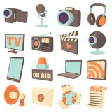 Media communications icons set, cartoon style. Media communications icons set. Cartoon illustration of 16 media communications icons for web Vector Illustration