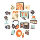 Media communications icons set, cartoon style. Media communications icons set. Cartoon illustration of 16 media communications vector icons for web stock illustration