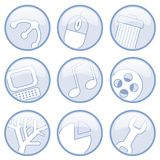Media And Computer Icons. Nine modern media and computer circular icons, in blue and white stock illustration