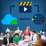 Media Computing Multimedia Content Sharing Concept Stock Image
