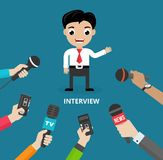 Media conducting a press interview. With a businessman answering questions or giving a presentation to a row of hands holding microphones  vector illustration Stock Photos