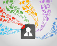Media content flows to avatar Royalty Free Stock Photo