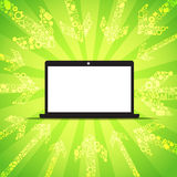 Media content goes to modern laptop Royalty Free Stock Images