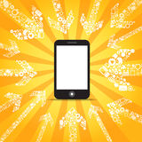 Media content goes to modern mobile phone Stock Photo