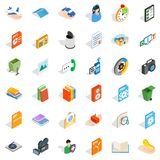 Media content icons set, isometric style. Media content icons set. Isometric set of 36 media content vector icons for web isolated on white background Royalty Free Stock Images