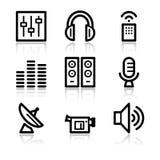 Media contour web icons. Vector web icons, black contour series Stock Photography