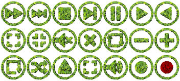Media controls made from green leaves  on white background. 3D render. Beautiful graphics made with green leaves  on solid background Stock Image