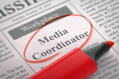 Media Coordinator Wanted. 3D. Stock Image