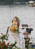 Media covering Nimajjan of Lord Ganesh, India Royalty Free Stock Photography